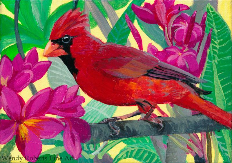 Cardinal in a Plumeria Tree
