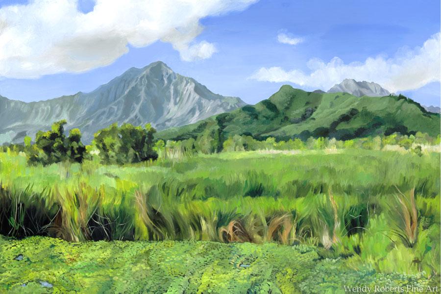 Bright Morning at Kawainui Triptych Center Panel