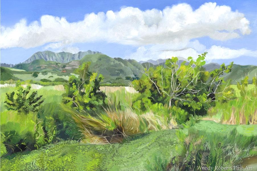 Bright Morning at Kawainui Triptych Right Panel