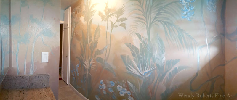 Peaceful Garden Bathroom Mural by Wendy Roberts