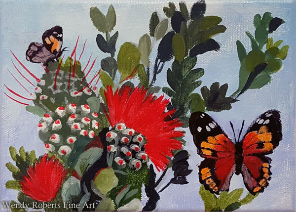 Kamehameha Butterflies With Red Ohia by Wendy Roberts