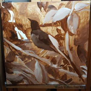 Under-painting progress of Shama Thrush in a Mountain Apple Tree