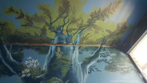 Enchanted Forest Mural: The massive tree. When the bed is in place, the viewer is lying directly under the tree. The perspective is designed to make the tree look like it is disappearing up into the sky. It is surprisingly effective in person!