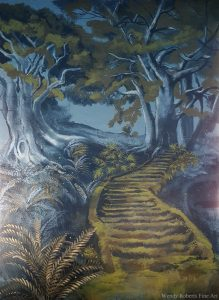 An ancient path to a mysterious door in a tree. This part of the mural is between the two windows in the room.
