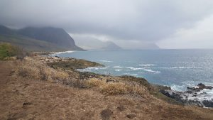 Kaena Point with the mountains fading into the distance