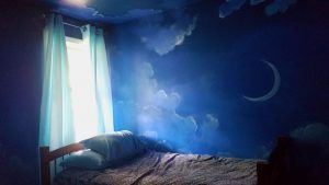 Night Sky Mural by Wendy Roberts, Room is complete with furniture and curtains