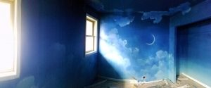 Night Sky Mural - room almost complete - full room view looking toward feature wall.