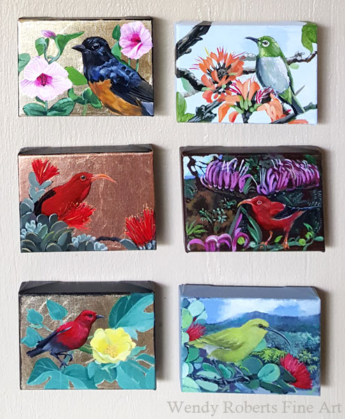 A few of the completed bird paintings in the series by Wendy Roberts